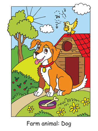 Coloring pages with cute dog listening a song of a bird. Cartoon vector illustration. Stock illustration for design, preschool education, print and game.