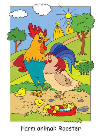 Coloring pages with happy rooster, hen and chickens on the farm meadow. Cartoon vector illustration. Stock illustration for design, preschool education, print and game. Ilustracja