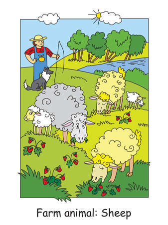 Coloring pages with cute sheeps gracing on meadow and shepherd with his dog. Cartoon vector illustration. Stock illustration for design, preschool education, print and game. Ilustracja