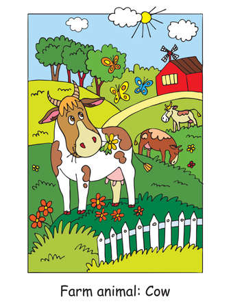Coloring pages with cute cow gracing on the farm meadow. Cartoon vector illustration. Stock illustration for design, preschool education, print and game.