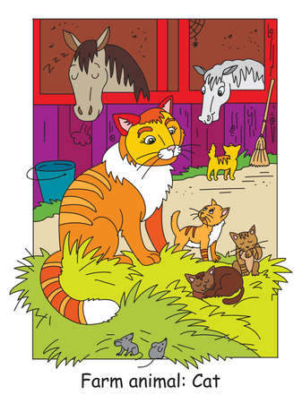 Coloring pages with cute cat and little kittens on the farm. Cartoon vector illustration. Stock illustration for design, preschool education, print and game.