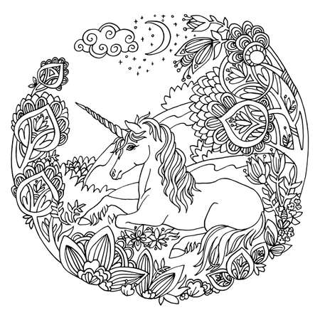 Vector coloring magic unicorn in trees, flowers in circle composition. Antistress freehand sketch drawing with tangle, doodle elements. For adult coloring book pages, stickers, design and tattoo.