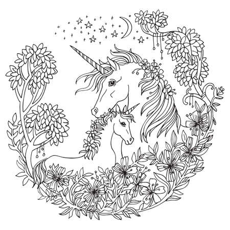Vector coloring beauty magic unicorn and foal in circle floral composition.Ornamental illustration black contour isolated on white background.For coloring pages, stickers, design and tattoo. 向量圖像
