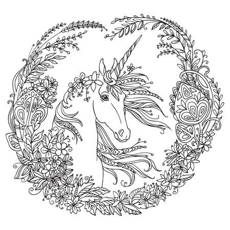 Vector coloring beauty unicorn with long mane in circle floral composition. Antistress freehand sketch drawing with tangle elements. For adult coloring book pages, stickers, design and tattoo.