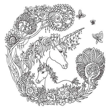 Vector coloring beautiful unicorn and foal with trees and flowers in circle composition.Ornamental illustration black contour isolated on white background.For coloring pages, stickers, design and tattoo.