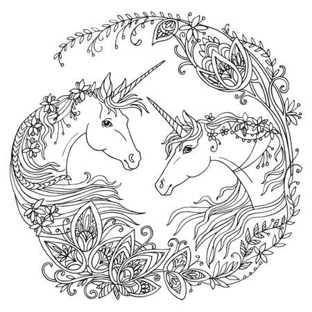 Vector coloring beauty two unicorns with long manes in circle floral composition. Antistress freehand sketch drawing with tangle elements. For adult coloring book pages, stickers, design and tattoo. Ilustracja