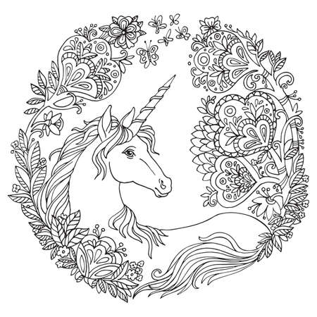 Vector coloring beauty magic unicorn, and flowers in circle composition. Antistress freehand sketch drawing with tangle, doodle elements. For adult coloring book pages, stickers, design and tattoo.