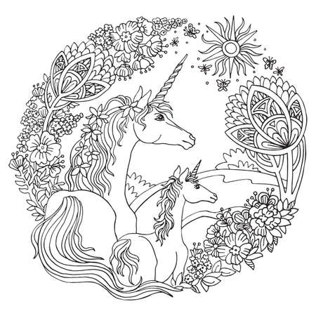 Vector coloring unicorn with foal, trees and flowers in circle composition. Antistress freehand sketch drawing with tangle, doodle elements. For adult coloring book pages, stickers, design and tattoo.