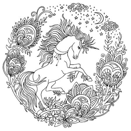 Vector coloring book pages beauty unicorn, flowers, stars in circle composition. Antistress freehand sketch drawing with tangle, doodle elements. For adult coloring, stickers, design, tattoo, print.