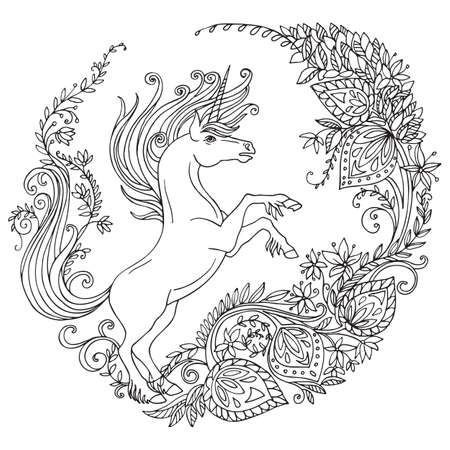 Vector coloring magic unicorn with long mane in decorative circle floral composition. Antistress freehand sketch drawing with tangle elements. For adult coloring book pages, stickers, design and tattoo. Ilustracja
