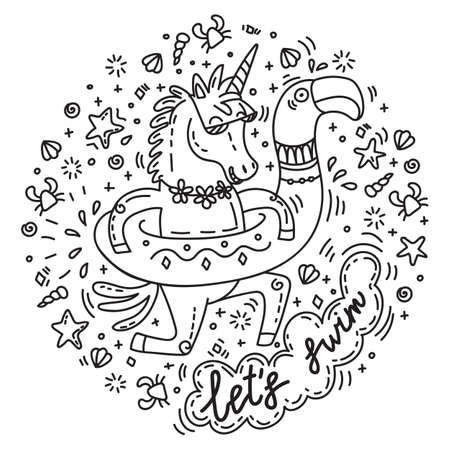 Funny unicorn goes swimming with circle for the pool in shape of flamingo. Vector humor character in doodle style. For stickers, design cushion, clock, card, design, print, t-shirts and decoration. Zdjęcie Seryjne - 151511168