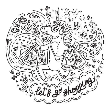 Funny cute unicorn is happy to bought a lot of purchases. Vector humor character in doodle style.Lets go shopping. Isolated illustration for stickers, design cushion, clock, card, design, print, t-shirts and decoration.