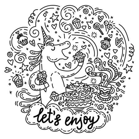 Funny cute unicorn in good mood enjoy eating a cake and candy. Vector humor character in doodle style. For stickers, design cushion, clock, card, design, print, t-shirts and decoration.