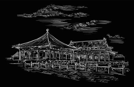 Forbidden city in Beijing, landmark of China. Hand drawn vector sketch illustration in white color isolated on black background. China travel concept. Stock illustration Ilustracja