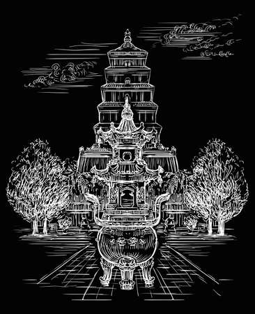 Big Wild Goose Pagoda in southern Xi'an, Shaanxi province, landmark of China. Hand drawn vector sketch illustration in white color isolated on black background. China travel concept. Ilustracja