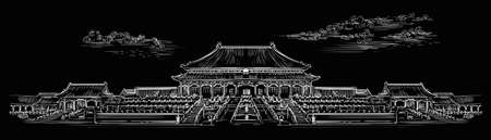 Palace complex in Forbidden city in central Beijing, landmark of China. Hand drawn vector sketch illustration in white color isolated on black background. China travel concept. Stock illustration
