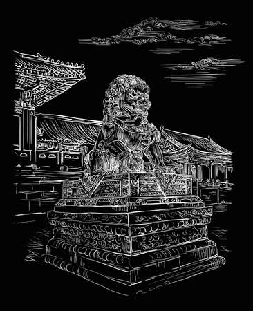 Big bronze lion in forbidden city in Beijing, landmark of China. Monochrome hand drawn vector sketch illustration isolated on black background. China travel concept. Stock illustration