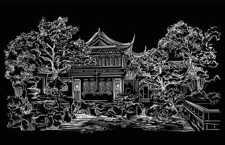 Garden Of Contentment in Shanghai province, landmark of China. Hand drawn vector sketch illustration in white color isolated on black background. China travel concept. Stock illustration.