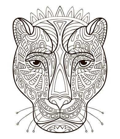Vector coloring ornamental portrait of pantera. Decorative abstract vector contour illustration isolated on white background. Stock illustration for adult coloring, design, print, decoration and tattoo. Ilustracja