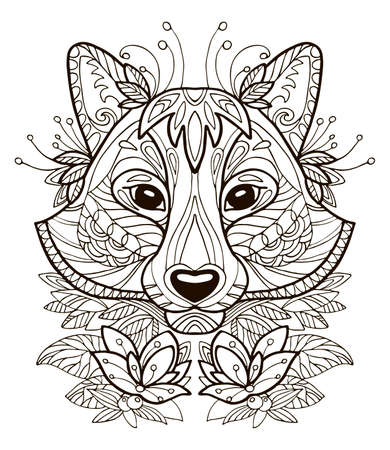 Vector coloring ornamental portrait of racoon. Decorative abstract vector contour illustration isolated on white background. Stock illustration for adult coloring, design, print, decoration and tattoo.