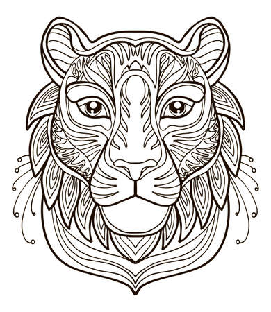Vector coloring ornamental portrait of tigre. Decorative abstract vector contour illustration isolated on white background. Stock illustration for adult coloring, design, print, decoration and tattoo.