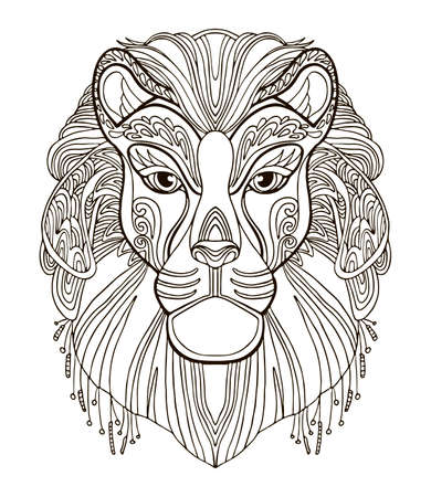 Vector coloring ornamental portrait of lion. Decorative abstract vector contour illustration isolated on white background. Stock illustration for adult coloring, design, print, decoration and tattoo.