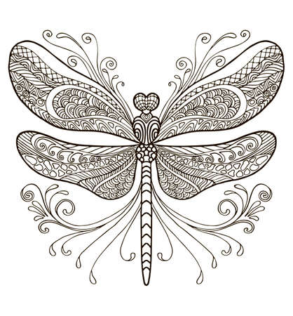 Coloring ornamental fantasy dragonfly. Vector decorative abstract vector contour illustration isolated on white background. Stock illustration for adult coloring, design, print, decoration and tattoo.
