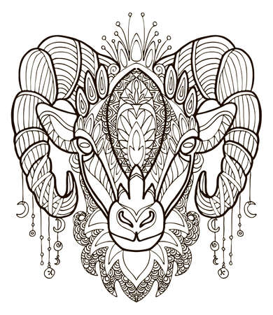 Vector coloring ornamental portrait of sheep. Decorative abstract vector contour illustration isolated on white background. Stock illustration for adult coloring, design, print, decoration and tattoo.