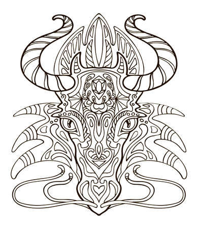 Vector coloring ornamental portrait of dragon. Decorative abstract vector contour illustration isolated on white background. Stock illustration for adult coloring, design, print, decoration and tattoo.