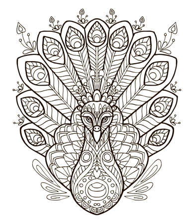 Vector coloring ornamental portrait of peacock. Decorative abstract vector contour illustration isolated on white background. Stock illustration for adult coloring, design, print, decoration and tattoo.
