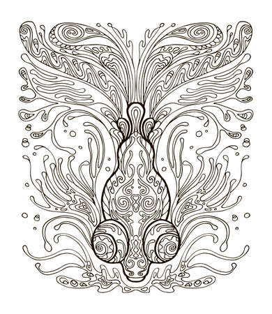 Vector coloring ornamental fish. Decorative abstract vector contour illustration isolated on white background. Stock illustration for adult coloring, design, print, decoration and tattoo.