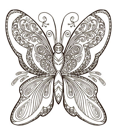 Coloring ornamental fantasy butterfly. Vector decorative abstract vector contour illustration isolated on white background. Stock illustration for adult coloring, design, print, decoration and tattoo.