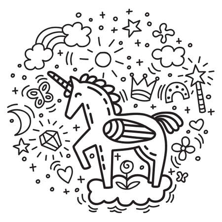 Cute funny unicorn with doodle elements. Vector monochrome isolated character in doodle style. For apparel, stickers, design cushion, clock, card, design, print, t-shirts and decoration.