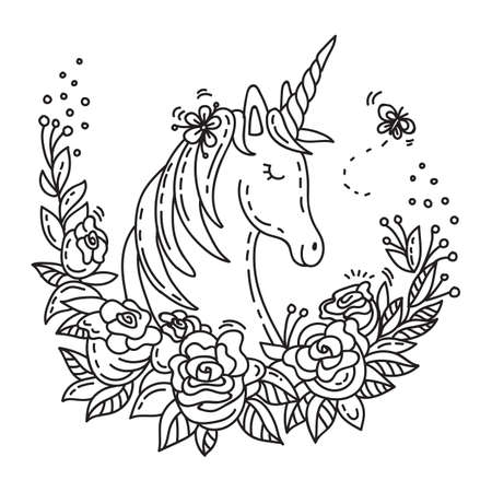 Vector illustration cute romantic unicorn with flowers in doodle style. Cartoon character. Stock illustration for apparel, print, design, greeting card, home decor, t-shirt, decoration, coloring. Ilustracja