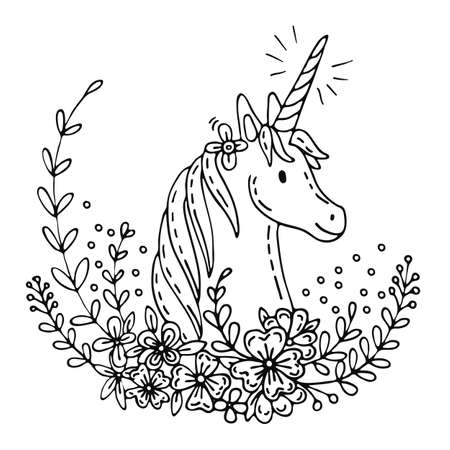 Vector illustration cute poster with romantic unicorn in flowers in doodle style. Cartoon character. Stock illustration for apparel, print, design, greeting card, home decor, t-shirt, decoration, coloring.