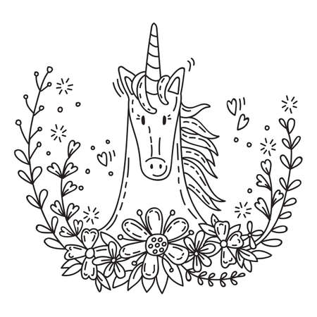 Cute poster with romantic unicorn in flowers in doodle style. Cartoon character. Vector stock illustration for apparel, print, design, greeting card, home decor, t-shirt, decoration, coloring.
