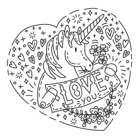 Funny unicorn with heart love you in doodle style. St Valentines day concept. Cartoon character. Vector stock illustration for apparel, print, design, greeting card, home decor, t-shirt, decoration, coloring.
