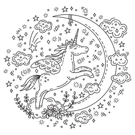Dreaming cute unicorn flying with clouds to the moon illustration. Vector monochrome isolated character in doodle style. For apparel, stickers, design cushion, clock, card, design, print, t-shirts and decoration.