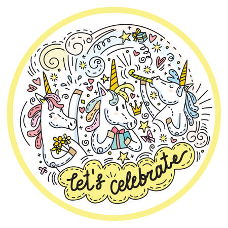 Very funny and happy celebrating unicorns. Colorful vector humor characters in doodle style in circle composition. For stickers, design cushion, clock, card, design, print, t-shirts and decoration. Ilustracja