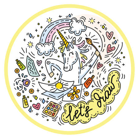Funny cute unicorn in good mood enjoy drawing. Colorful vector humor character in doodle style in circle composition.For stickers, design cushion, clock, card, design, print, t-shirts and decoration.