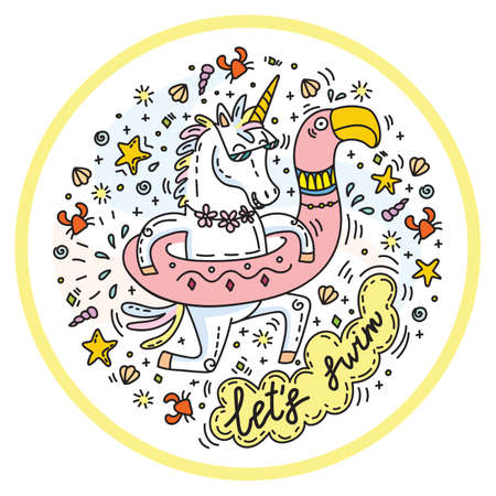 Funny unicorn goes swimming with circle for the pool in shape of flamingo. Clorful vector humor character in doodle style. For stickers, design cushion, clock, card, design, print, t-shirts and decoration.