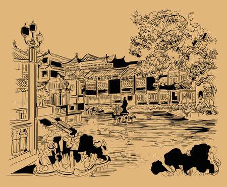 Big bronze lion in forbidden city in Beijing, landmark of China. Monochrome hand drawn vector sketch illustration isolated on beige background. China travel Concept. Stock illustration Illusztráció