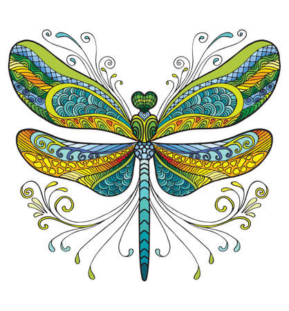 Colorful ornamental fantasy dragonfly. Vector decorative abstract vector illustration isolated on white background. Stock illustration for adult coloring, design, print, decoration and tattoo.