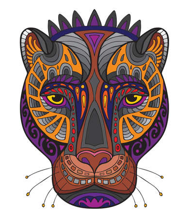 Vector colorful ornamental portrait of pantera. Decorative abstract vector contour illustration isolated on white background. Stock illustration for adult coloring, T Shirt, design, print, decoration and tattoo. 일러스트