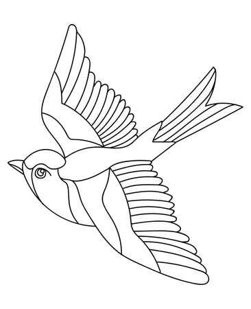 Vector line art monochrome flying songbird. 向量圖像