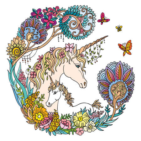 Vector beautiful unicorn and foal with flowers in circle composition.Colorful ornamental illustration isolated on white background.For T Shirt, stickers, design and tattoo.