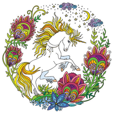 Vector beautiful unicorn with flowers in circle composition.Colorful ornamental illustration isolated on white. Tangle Illustration. Boho. For T Shirt, stickers, design and tattoo.