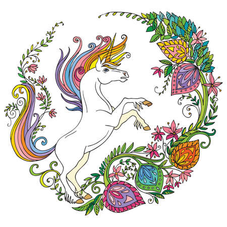 Vector magic unicorn with flowers in circle composition.Colorful ornamental illustration isolated on white. Tangle Illustration. Boho. For T Shirt, stickers, design and tattoo.