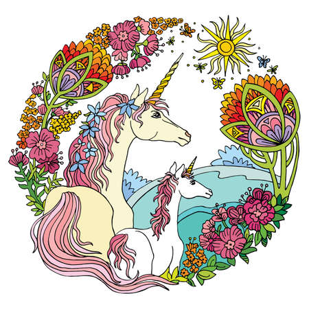 Vector beautiful unicorn and foal with flowers in circle composition.Colorful ornamental illustration isolated on white. Boho. For T Shirt, stickers, design and tattoo.