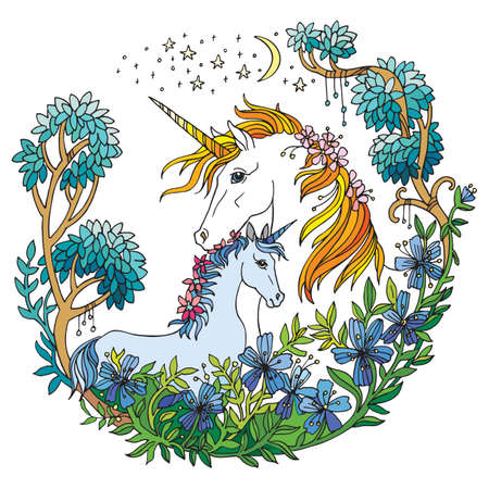 Vector beautiful unicorn and foal with flowers in circle composition. Colorful tangled illustration isolated on white. Boho. For T Shirt, stickers, design and tattoo.